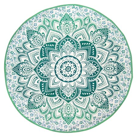Indian Mandala Print Round Cotton Tablecloth 80
