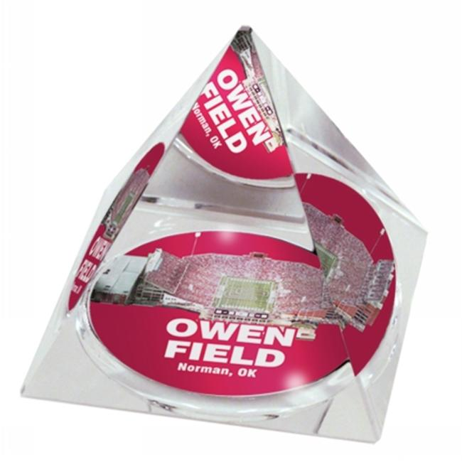 Sport Collectors Guild OklahomaUStaPYR406 High Quality Crystal Pyramid With Memorial Stadium Picture