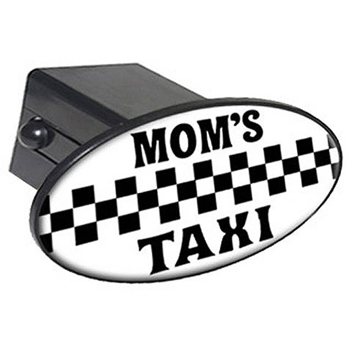 """Mom's Taxi Black And White 2"""" Oval Tow Trailer Hitch Cover Plug Insert"""