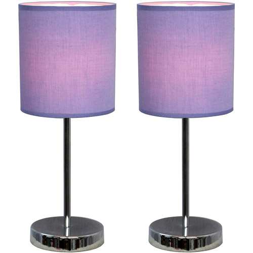 Simple Designs Chrome Mini Basic Table Lamp with Fabric Shade 2-Pack Set