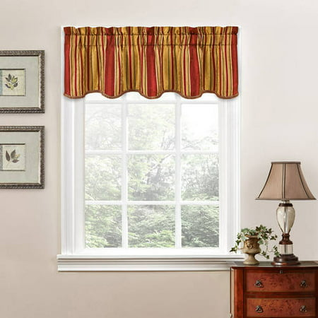 Traditions By Waverly Stripe Ensemble Scalloped Window