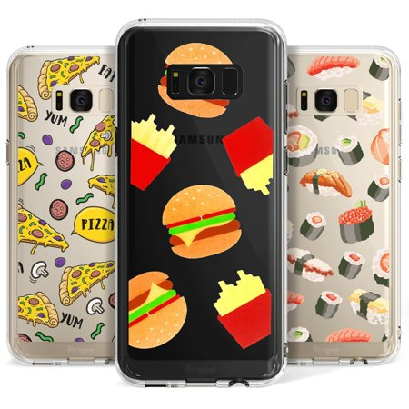 Party Galaxy Okc (Ringke DECO Decal Hipster Food Reusable Pattern Insert Quality PET Film Cute Design Graphic [3 Variety Pack - How I Roll / Pizza Party / Burger Time] For Samsung Galaxy)