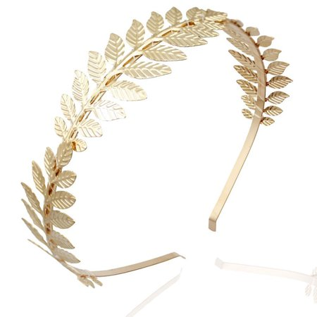Roman Goddess Leaf Branch Dainty Bridal Hair Crown Head Dress Boho Alice Band (Gold) - Roman Leaves
