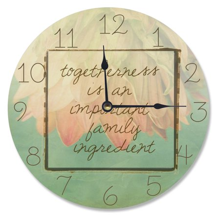 The Stupell Home Decor Collection 12 in. Togetherness is An Important Family Ingredient Vanity Wall Clock Ingredients Store Collection