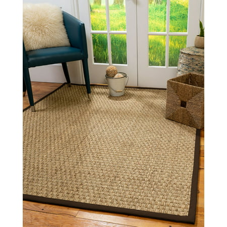 Natural Area Rugs Basketweave Custom Seagrass Rug, 10', Square Extra Wide Brown Border 10' High Square Table