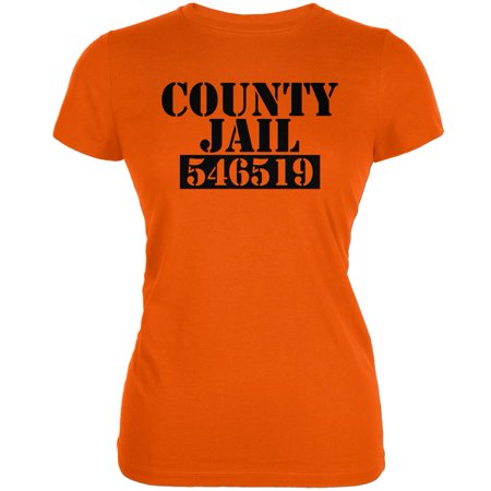 Halloween County Jail Inmate Costume Orange Juniors Soft T-Shirt - Jail Halloween Costume
