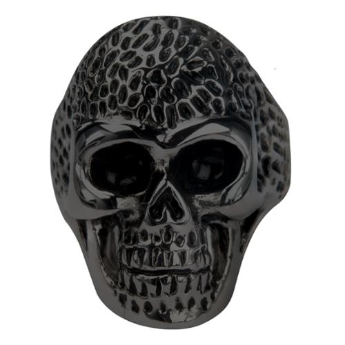 Inox Men's Stainless Steel Black Skull Dotted Head Ring Size 13 FR8555K-13 by