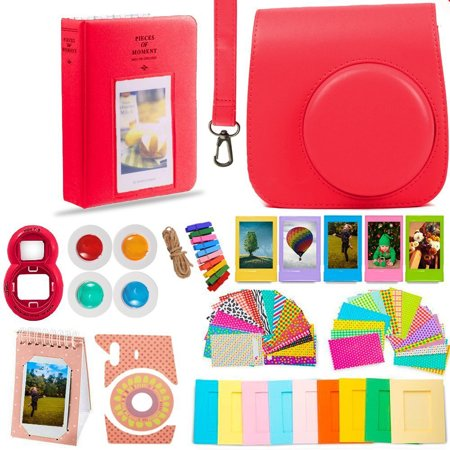 - DNO Fujifilm Instax Mini 9/8 Camera Accessories (11 Piece Kit) - Includes Protective Case/ Hanging Frames/ Filters/ Selfie Len/ Photo Album/ Stickers and More - Portable & Perfect Gift (Raspberry)