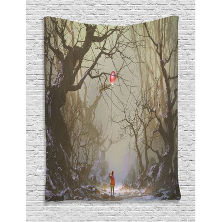 Creepy Bedroom Decor (Fantasy Tapestry, Boy Looking Up Red Balloon Stuck on Tree Branch in Foggy Forest Creepy Picture Print, Wall Hanging for Bedroom Living Room Dorm Decor, Brown, by)