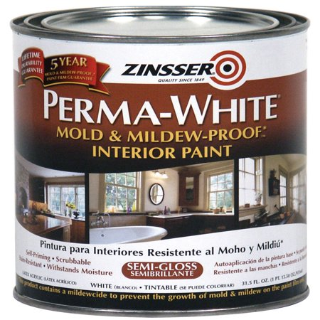 Zinsser Quart Semi-Gloss Perma-White Mildew-Proof Bathroom ...