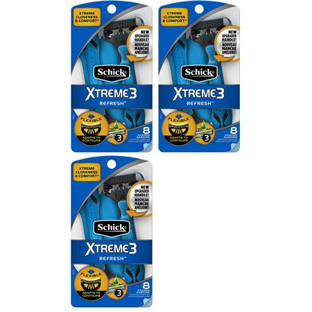 Schick Xtreme3 Refresh Disposable Razors, 8 Count (Pack of 3) - image 1 of 1