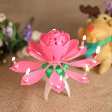 Rotating Musical Flower Birthday Candle Multiple Colors