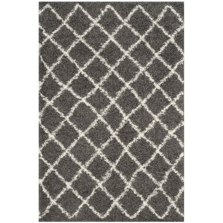 Safavieh Dallas Shag 3' X 5' Power Loomed Rug in Dark Gray and Ivory - image 6 de 10
