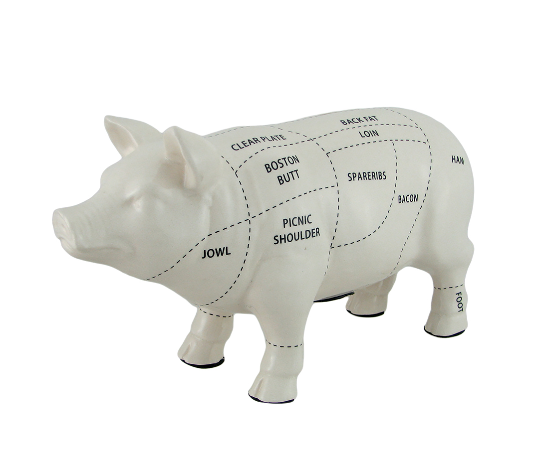 Large White Ceramic Butcher Chart Hog Piggy Bank 13 Inches Long by Contrast Inc.