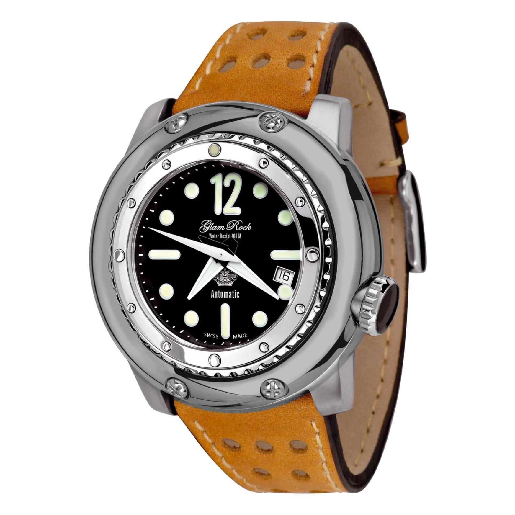 Glam Rock Men's Miami Racetrack 50mm Brown Leather Band S...
