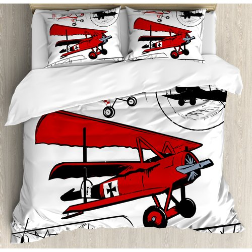 Ambesonne Airplane Collection of Various Biplanes Nostalg...