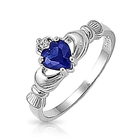 BFF Celtic Irish Friendship Promise CZ Blue Simulated Sapphire Heart Claddagh Ring For Women 925 Sterling (Aquamarine Blue Birthstone Claddagh Ring)