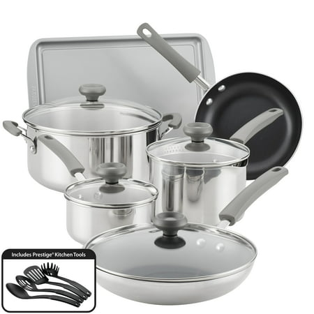 Farberware 14-Piece Complements Stainless Steel and Nonstick Pots and Pans Set/Cookware Set, Silver
