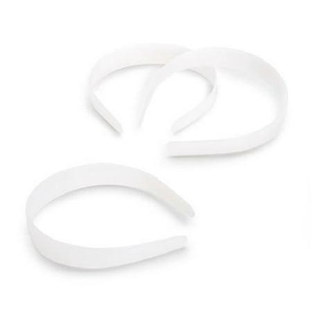 1 inch 25mm Wide White Plain Plastic Headbands 12 Pieces - Plastic Headbands In Bulk
