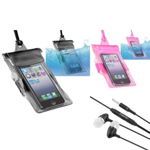 Insten 2 Black Pink Waterproof Case+Black Headset For LG Cosmos Touch Optimus 2X G2X L5 Apple iPhone 4S 4 3GS 3G