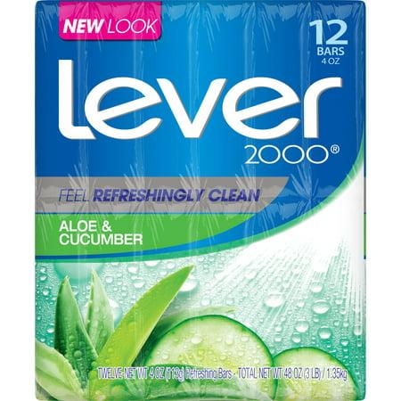 Lever 2000 Bar Soap Aloe & Cucumber 4 oz, 12 Bar