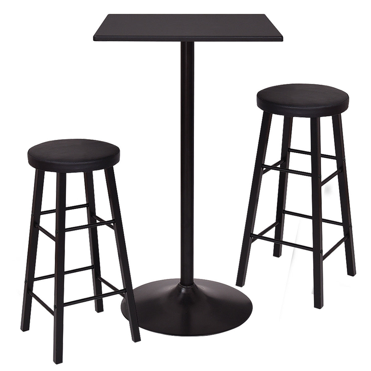 Gymax 3 Piece Square Bar table Dining Set Kitchen Furniture