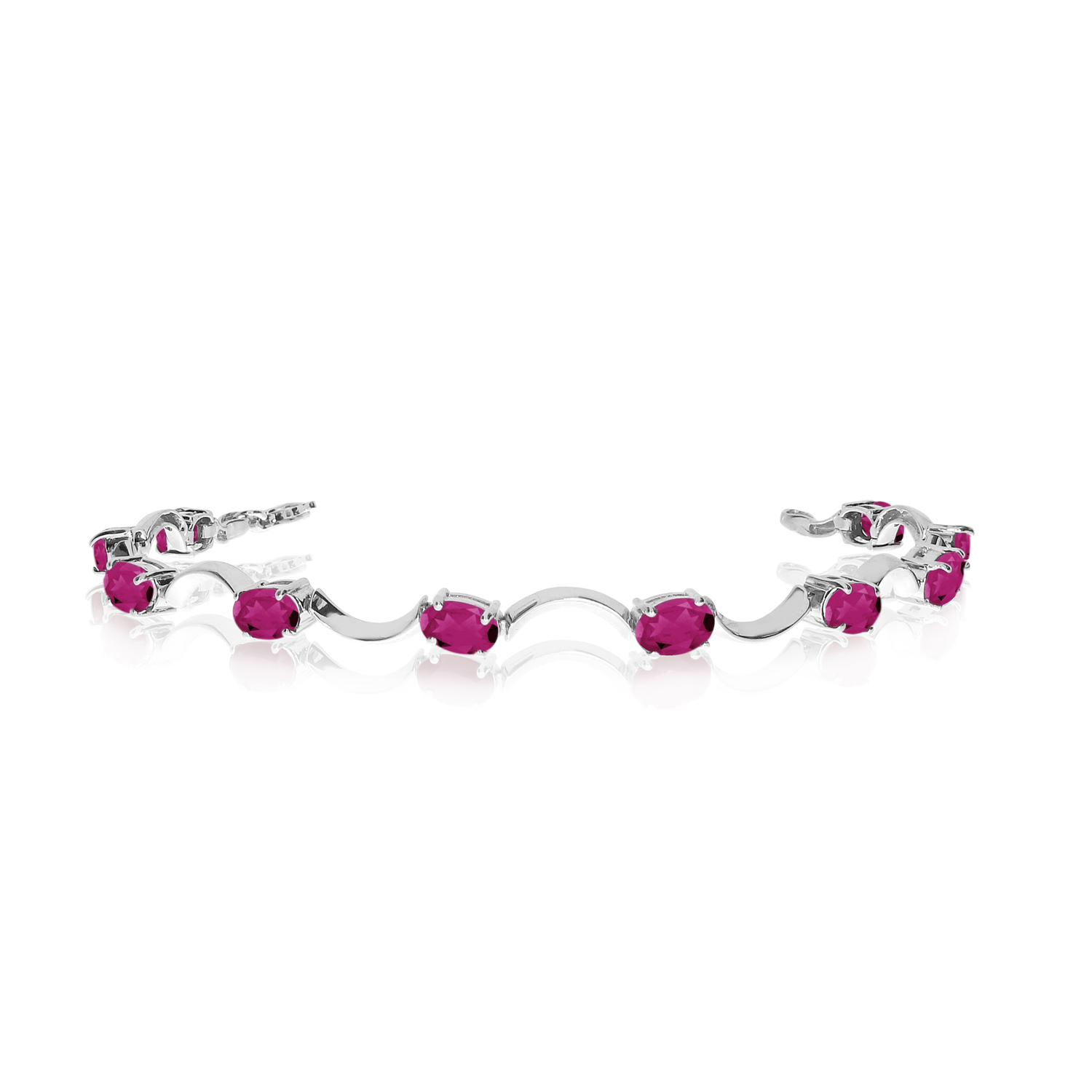 14K White Gold Oval Pink Topaz Curved Bar Bracelet by