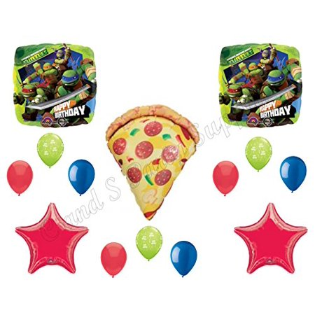 TEENAGE MUTANT NINJA TURTLES & PIZZA! Birthday Party Mylar Balloons Decorations Supplies Movie