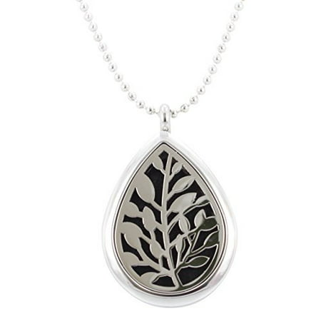 Aromatherapy Leaf Necklace, Teardrop Essential Oil Diffuser Locket in Stainless Steel, 32 Inch Chain, - Leaf Locket