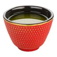 "Tetsubin 2 oz Red Cast Iron Tea Cup - Hobnail - 2 1/2"" x 2 1/2"" x 1 3/4"" - 2 count box"