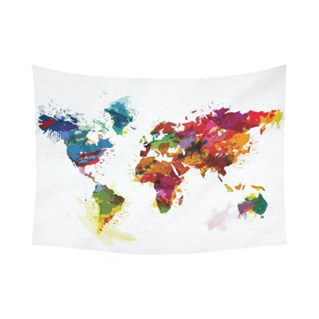 GCKG Watercolor Global Colorful World Map Tapestry Horizontal Wall - Colorful world map painting