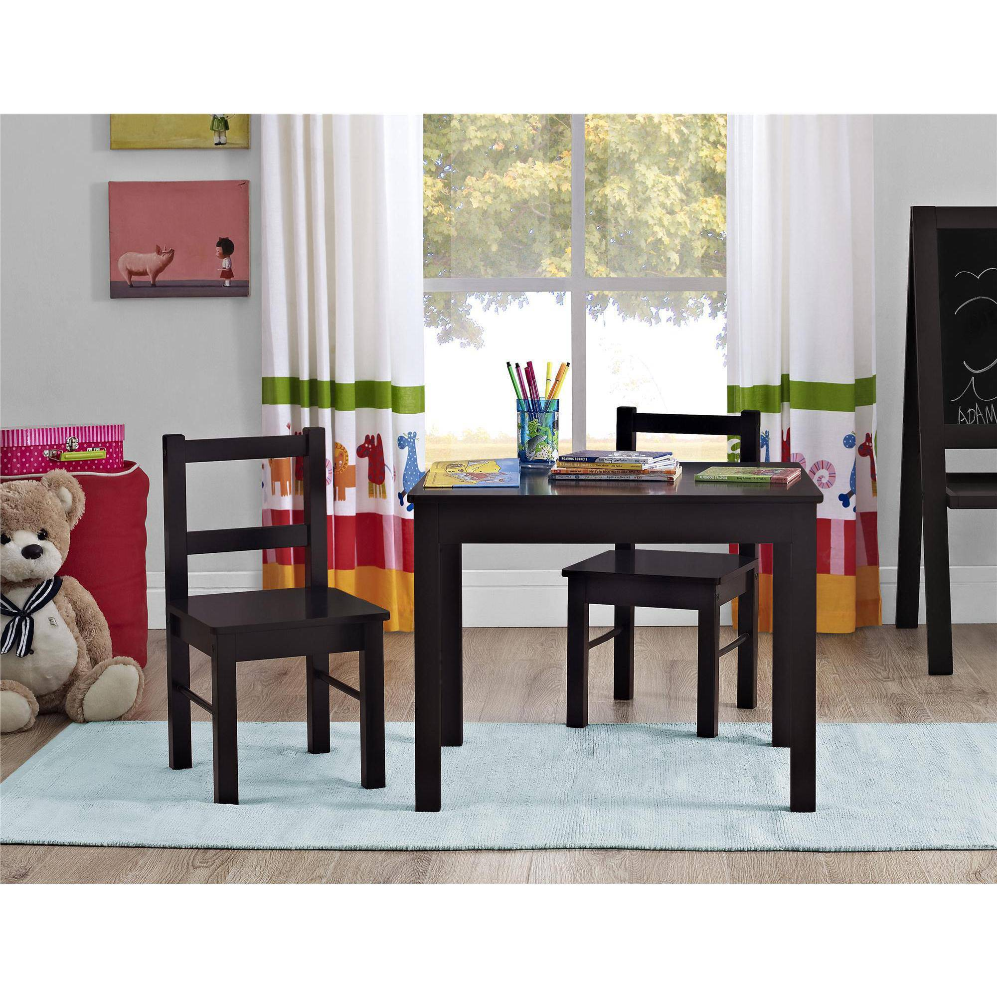 Altra Furniture Hazel Kids Table and Chairs 3-Piece Set, Espresso