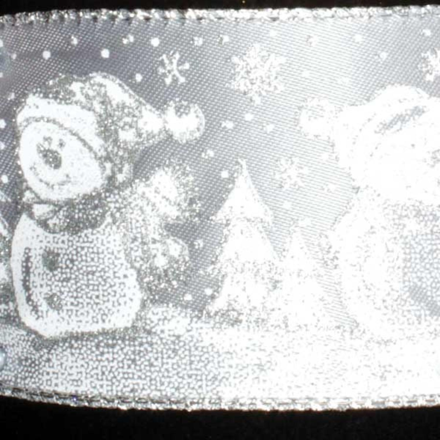 "Snowman Snow Day Party Gray and Silver Wired Craft Ribbon 2.5"" x 40 Yards"