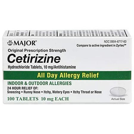 Major All Day Allergy Cetirizine HCL Tablets 10 mg.