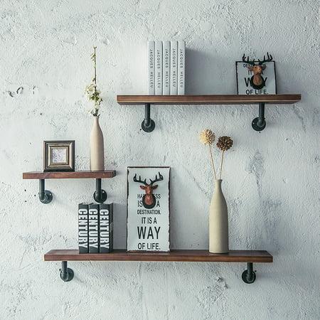 Retro Vintage Industrial Wood Metal Wall Shelf Display Floating Storage with Shelf Pipe Bracket,3 Size ()