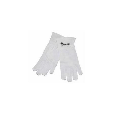 Gloves-Usher W/Cross White Cotton-Large - Batman Gloves For Sale