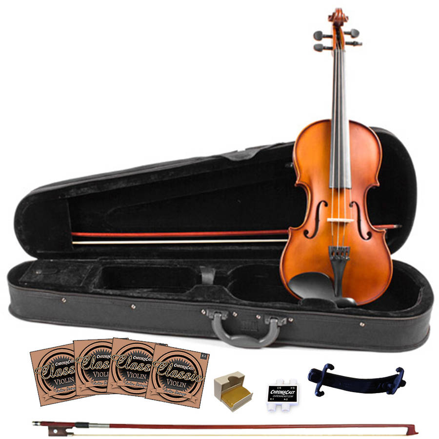 Rise by Sawtooth Full Size Student's Violin with Carved Solid Spruce Top and Maple Back and Sides