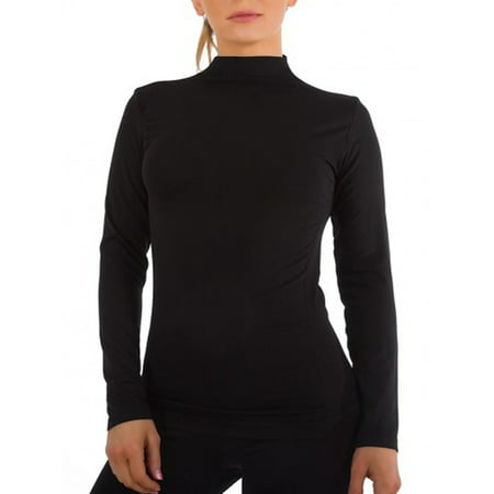 Women Long Sleeve Mock Neck Shirt Seamless Stretch Turtleneck Top Slim Fitted M-XL Plus Size