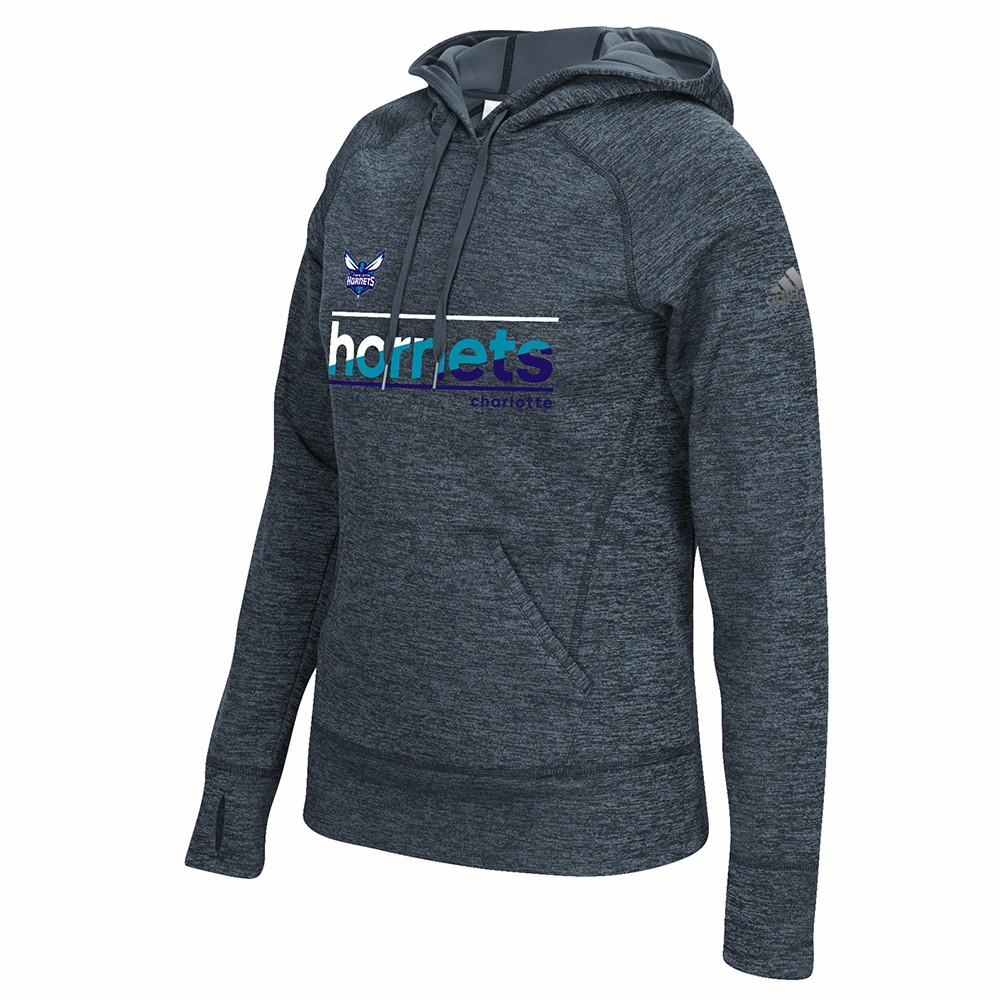 "Charlotte Hornets NBA Adidas Grey ""Color Slant"" Team Issue Climawarm Performance Pullover Hoodie For Women (M)"