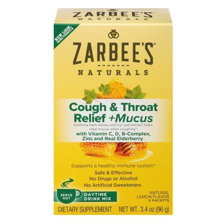 Zarbees Naturals Cough And Throat Relief Plus Mucus Daytime Drink Packets, Lemon, 6 Packets, 2