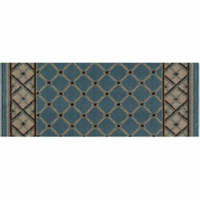 Central Oriental 8264BLST33C Interlude Portico 030 Rhombus 100 Percent Heavy-Weight Heat Set Polypropylene Stair Tread Rug, Blue - 9 x 33 in.