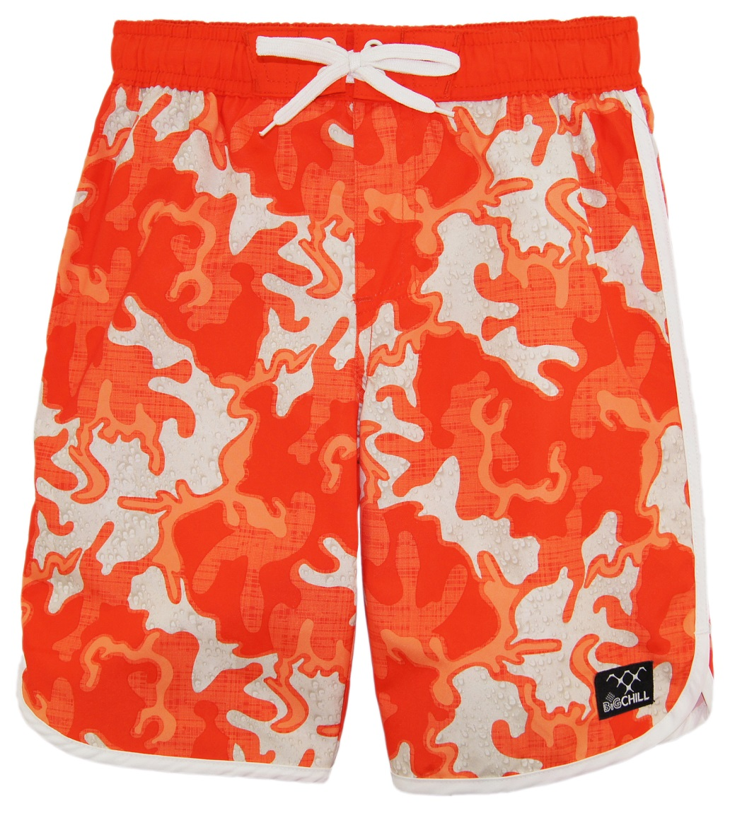 Big Chill Boys Swimwear Scallop Short Camo Rashguard Swim Trunk Swim Shorts