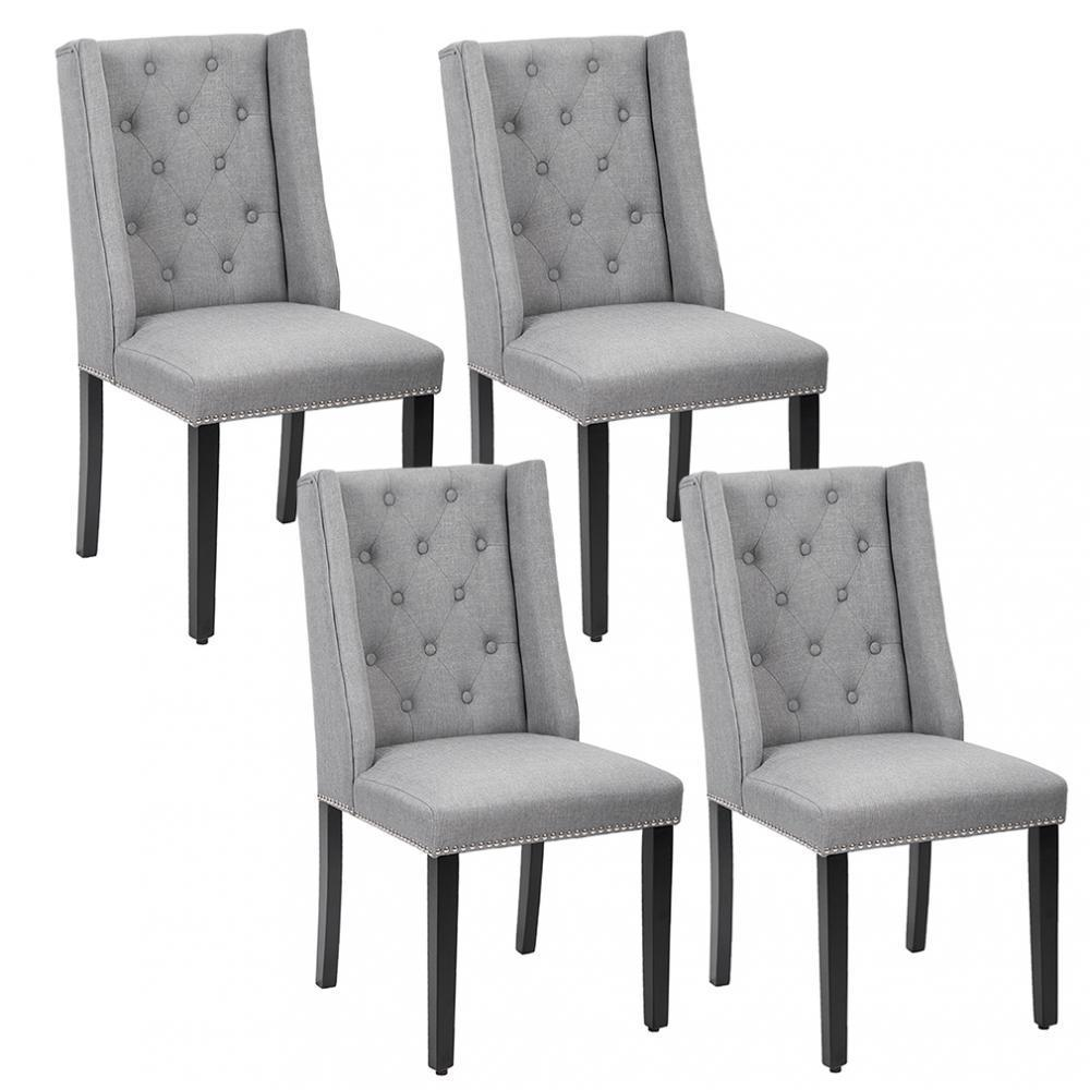 gray and white dining chairs oversized set of grey elegant dining side chairs button tufted fabric nailhead 54b