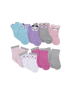 Gerber Baby and Toddler Girls Wiggle Proof Jersey Crew Socks, 8-Pack