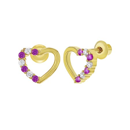 18k Gold Plated Pink Clear Heart Back Baby Earrings Kids 7mm