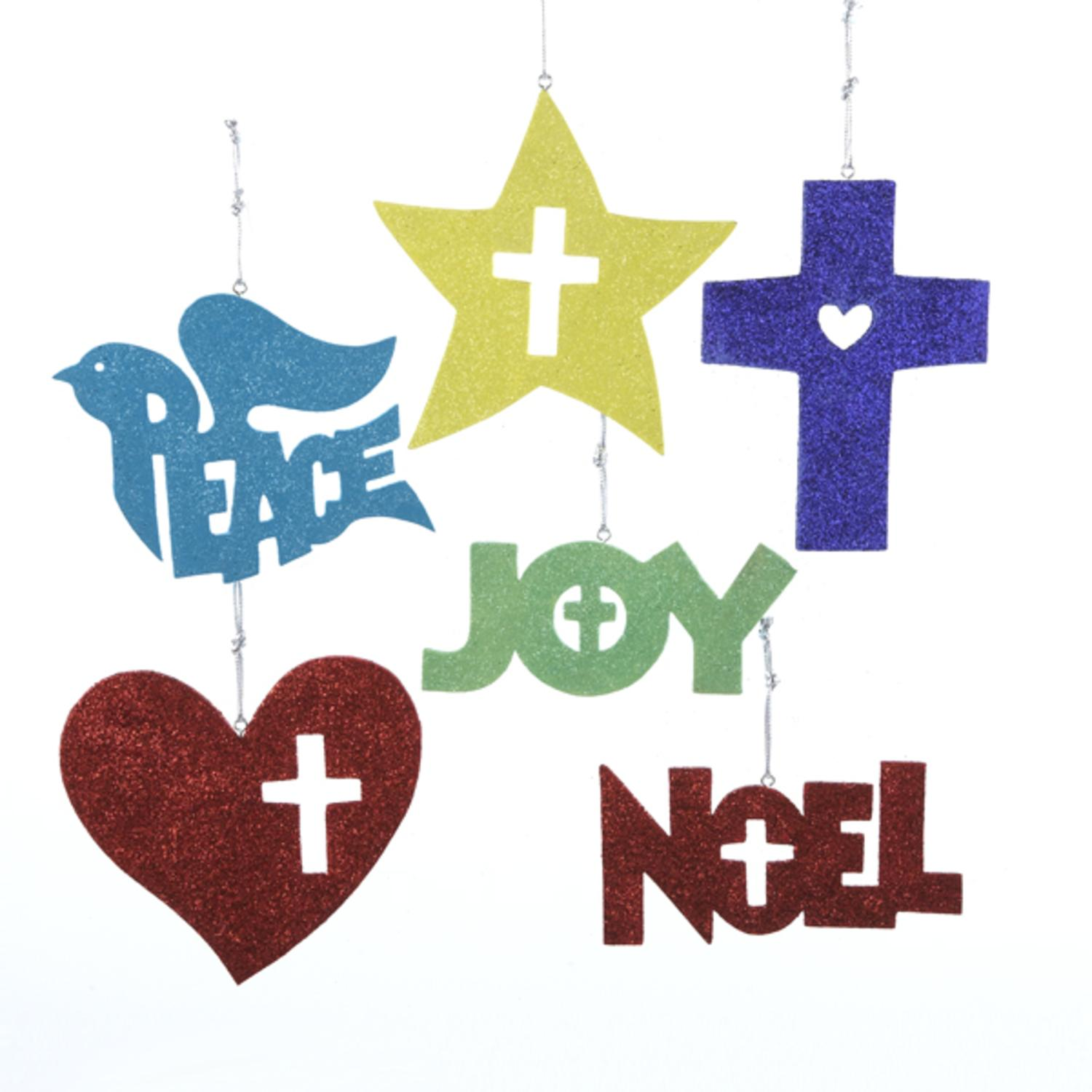 24 Christmas Traditions Peace, Joy, Noel, Star & Cross Glitter Ornaments 5""