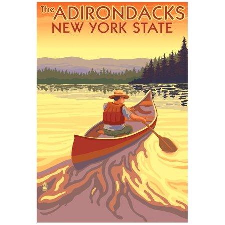 The Adirondacks, New York State - Canoe Scene Poster - 13x19