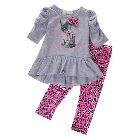 2pcs Baby Girl Kids Cat Tops Dress+Leopard Pants Leggings Outfits Clothes 2-7Y - Cats Outfit