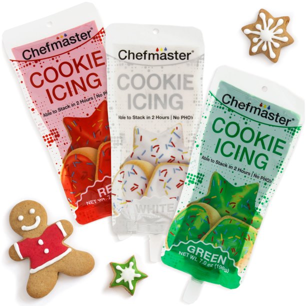 U S Cake Supply 3 Color Cookie Icing Christmas Day Theme Pack 7oz Ready To Use Decorating Pouches White Red Green Walmart Com Walmart Com
