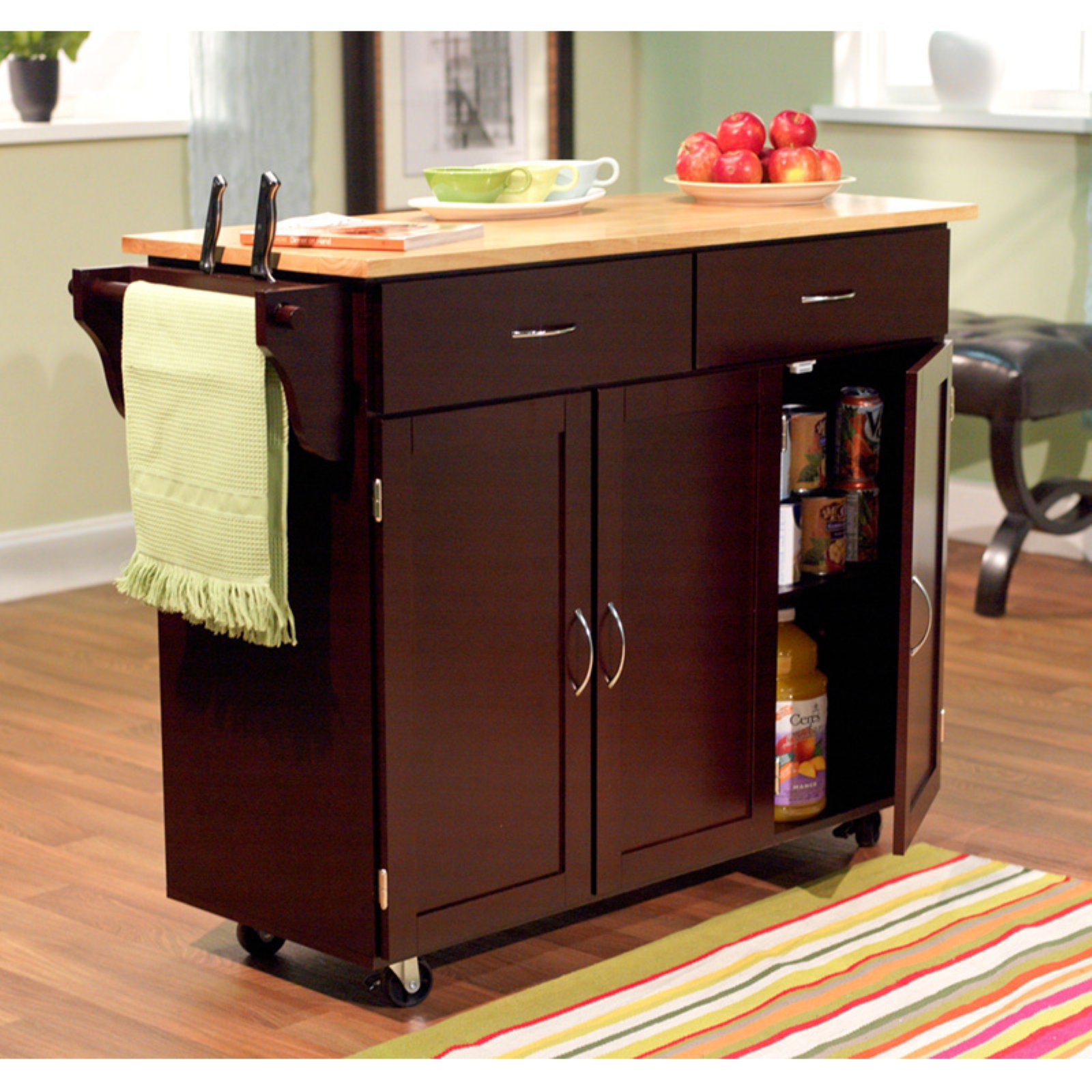 Target Marketing Systems Extra Large Kitchen Cart with Wooden Top